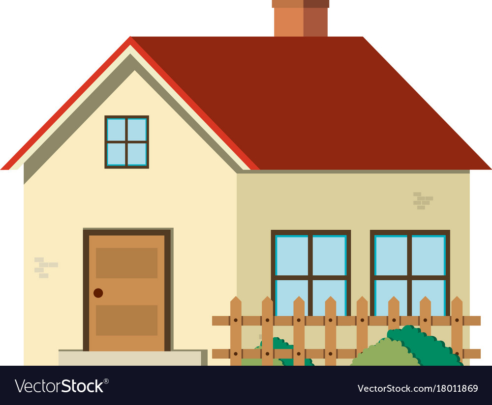 Single house with red roof and wooden fence