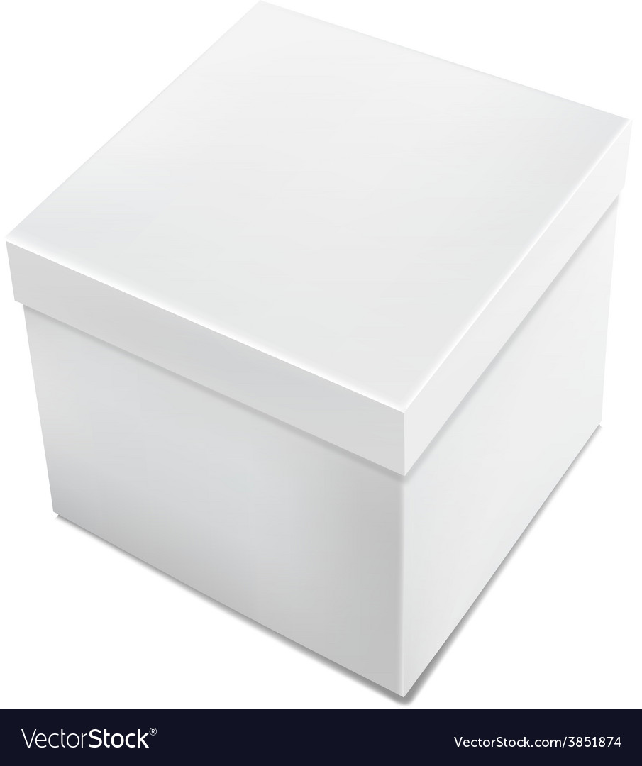 3d realistic white packaging box isolated