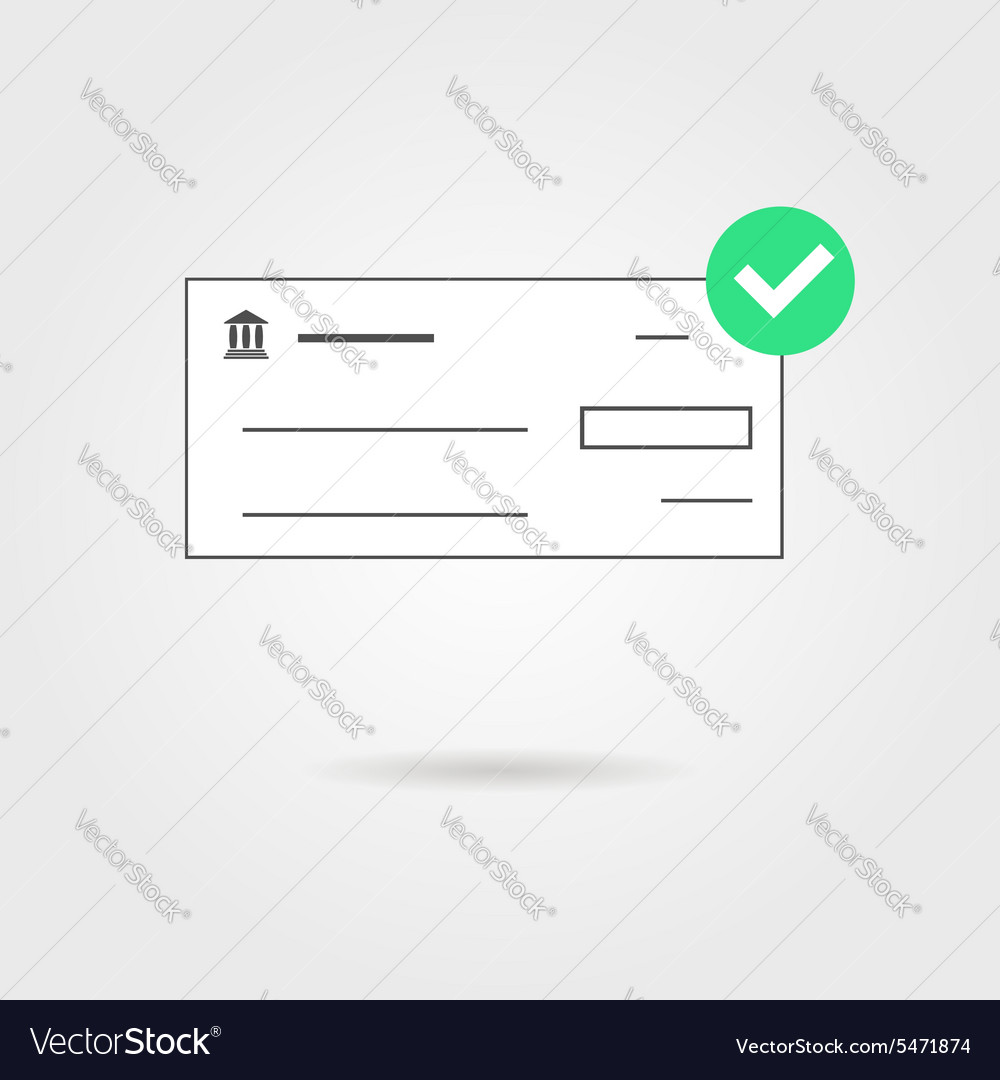 Bank check with green check mark icon and shadow