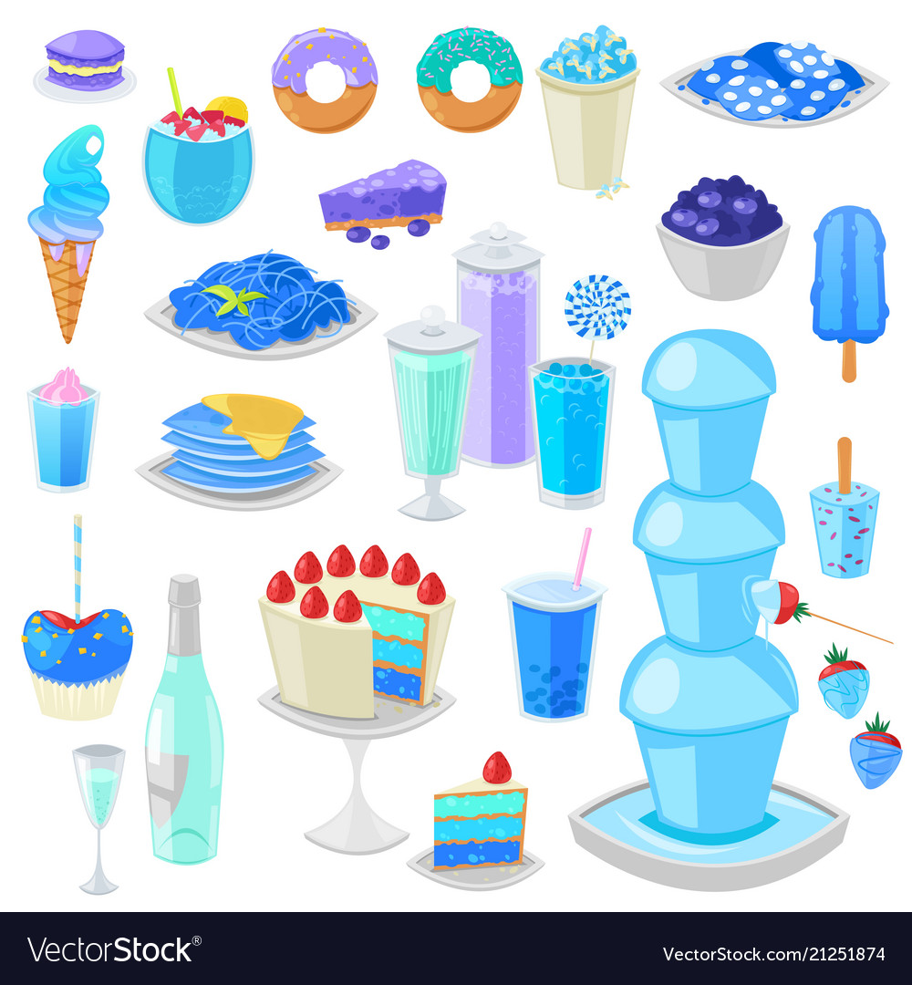Blue food bluish cake with blueberry and vector image
