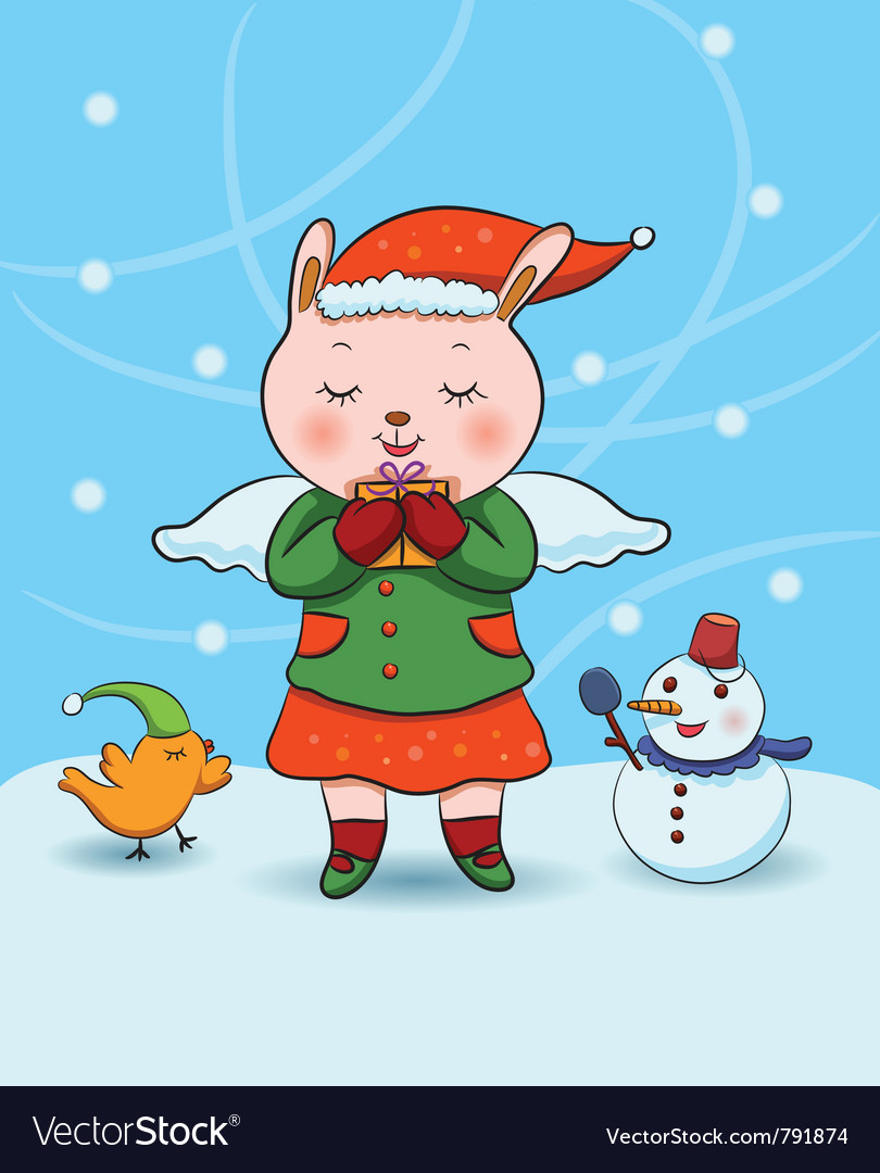Christmas bunny angel