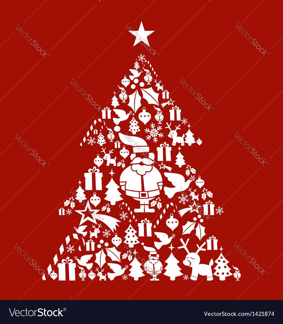 Christmas icon set in pine tree shape