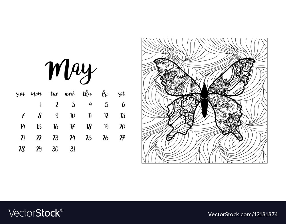 Desk calendar template for month May vector image