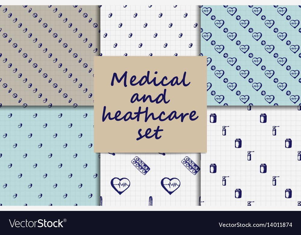 Doodle seamless paterns medicine icons set