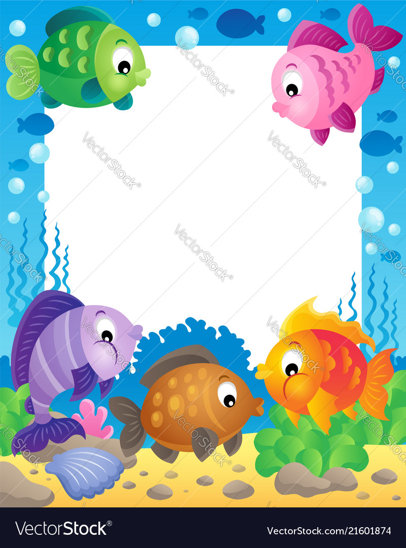 Fish theme frame 1 Royalty Free Vector Image - VectorStock