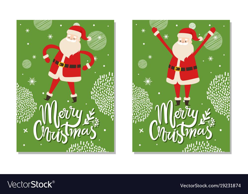 Christmas Postcards.Merry Christmas Postcards With Santa Claus Winter