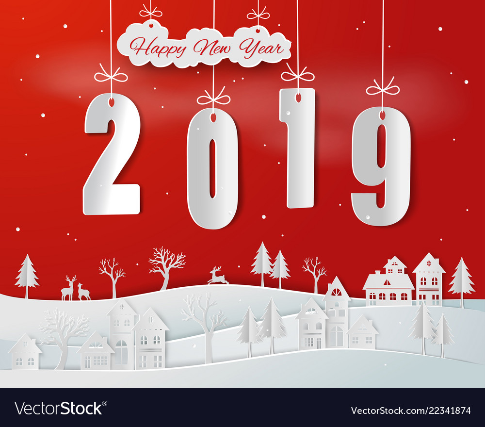 Paper art of happy new year 2019 on red background