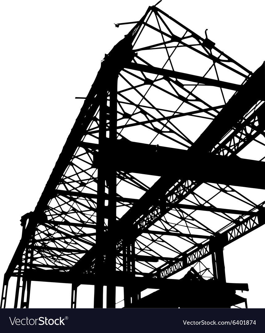 Silhouette of an old factory in black and white