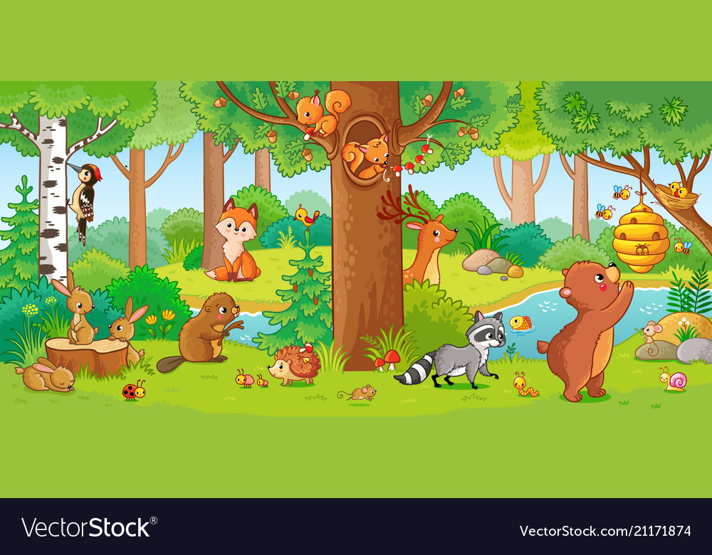 With cute forest animals
