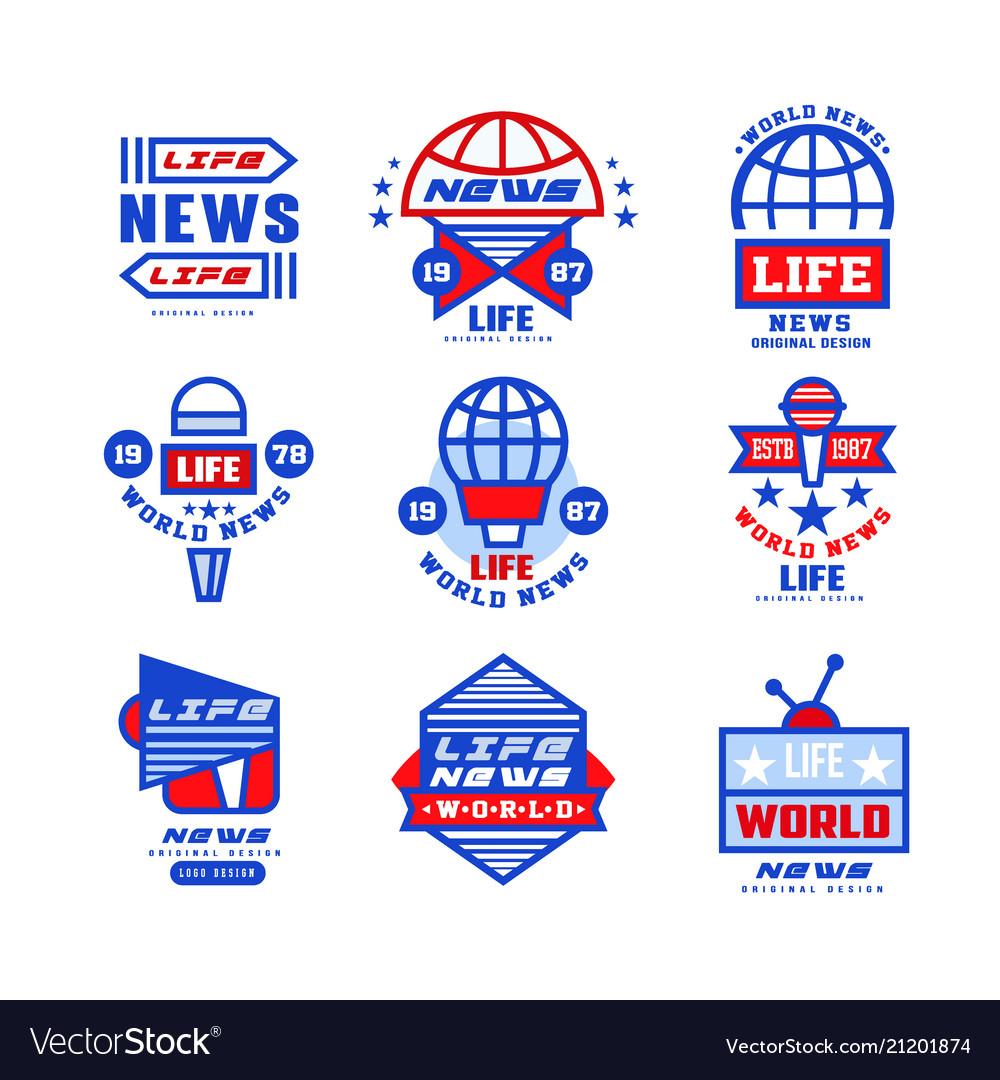 World life news logo original design set social