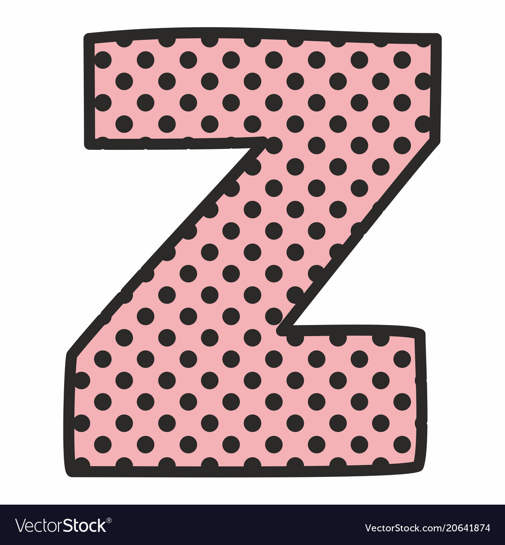 Z alphabet letter with black polka dots on pink