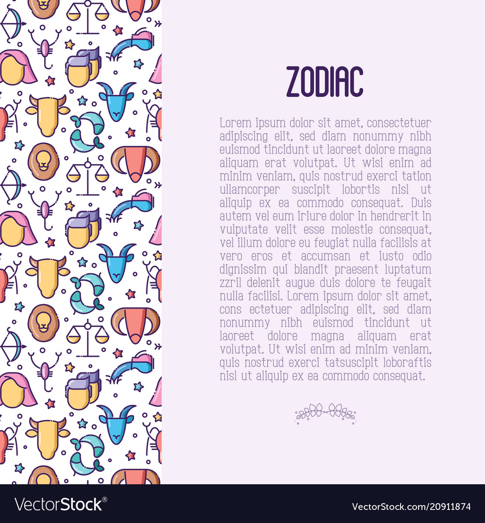 Zodiac signs concept with thin line icons