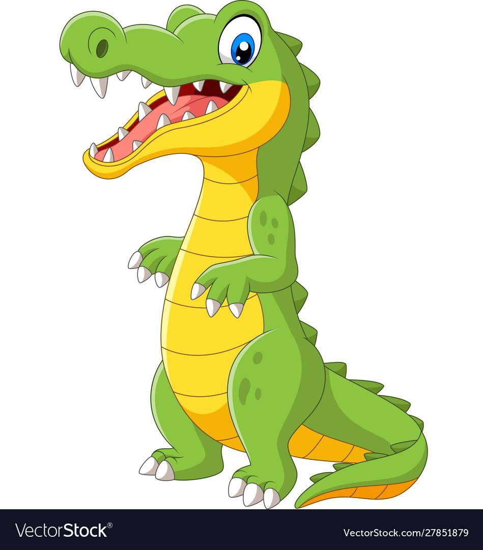 Cartoon cute crocodile standing on white