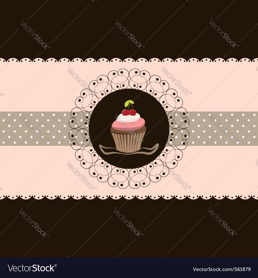 Cherry cupcake invitation card pink brown backgrou