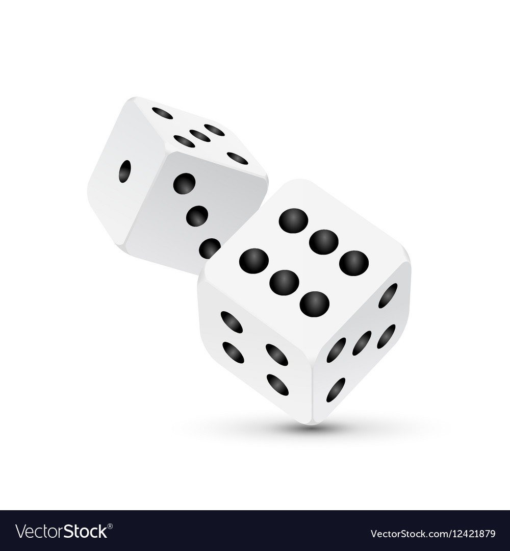 Dice design isolated on white Two dice casino