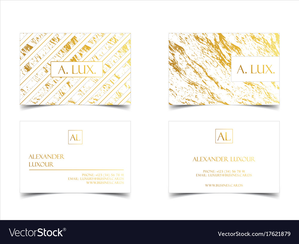 Elegant White Luxury Business Cards With Marble Vector Image