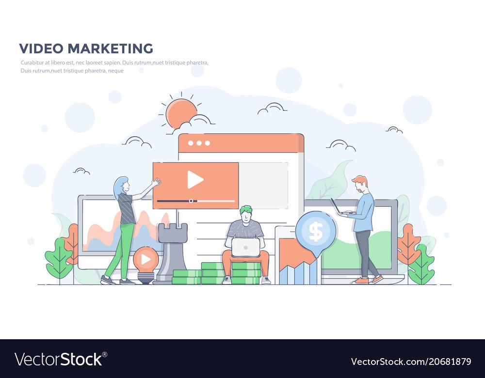 Flat line modern concept - video marketing