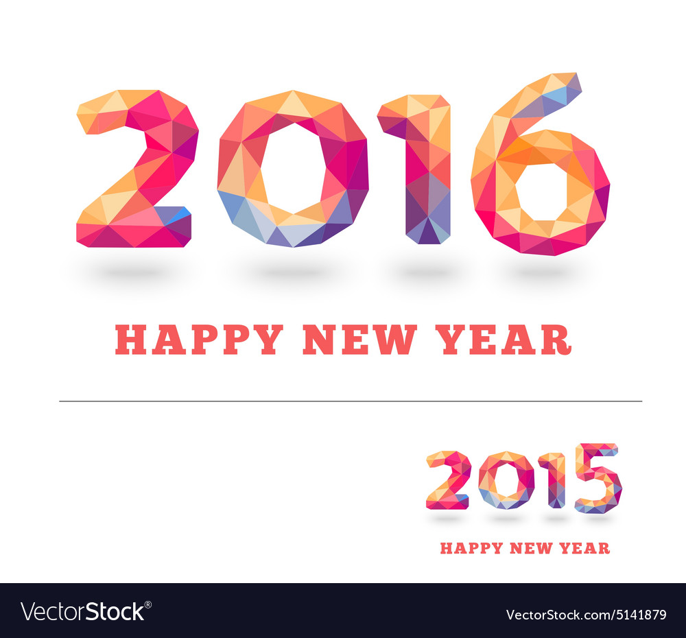 Happy New Year 2016 colorful greeting card