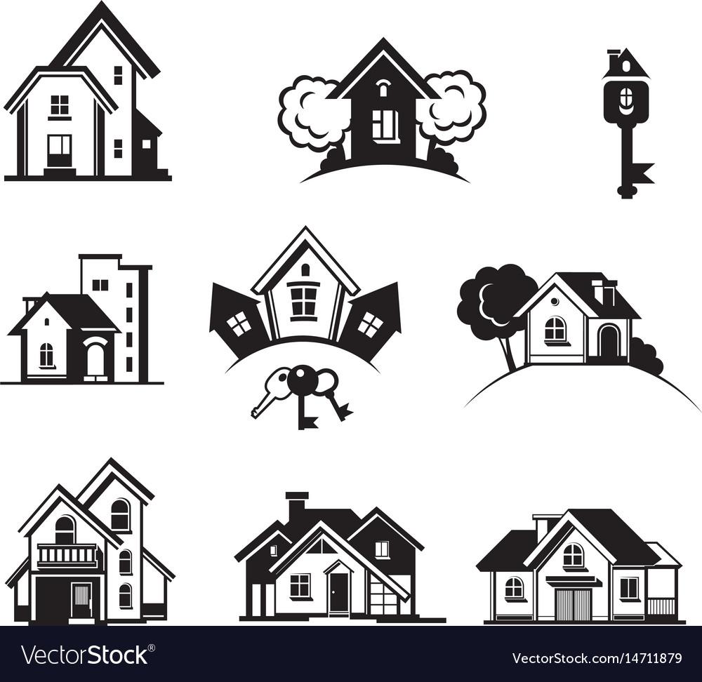 Houses black icon set