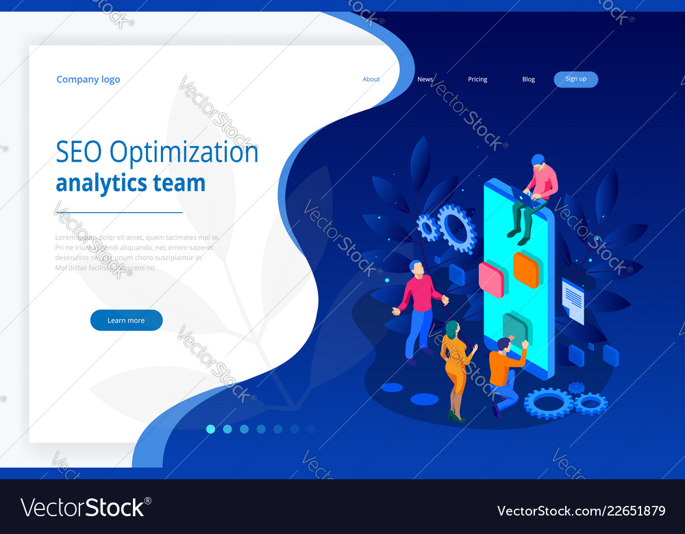 Isometric seo optimization and analytics team vector