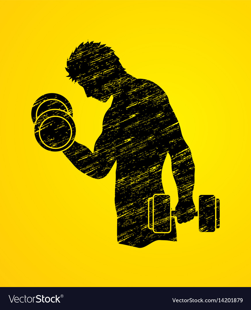 Man exercise with dumbbell graphic