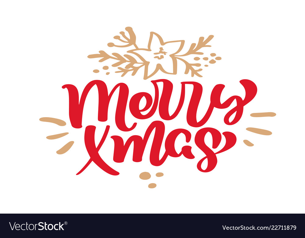 Merry xmas christmas vintage calligraphy lettering