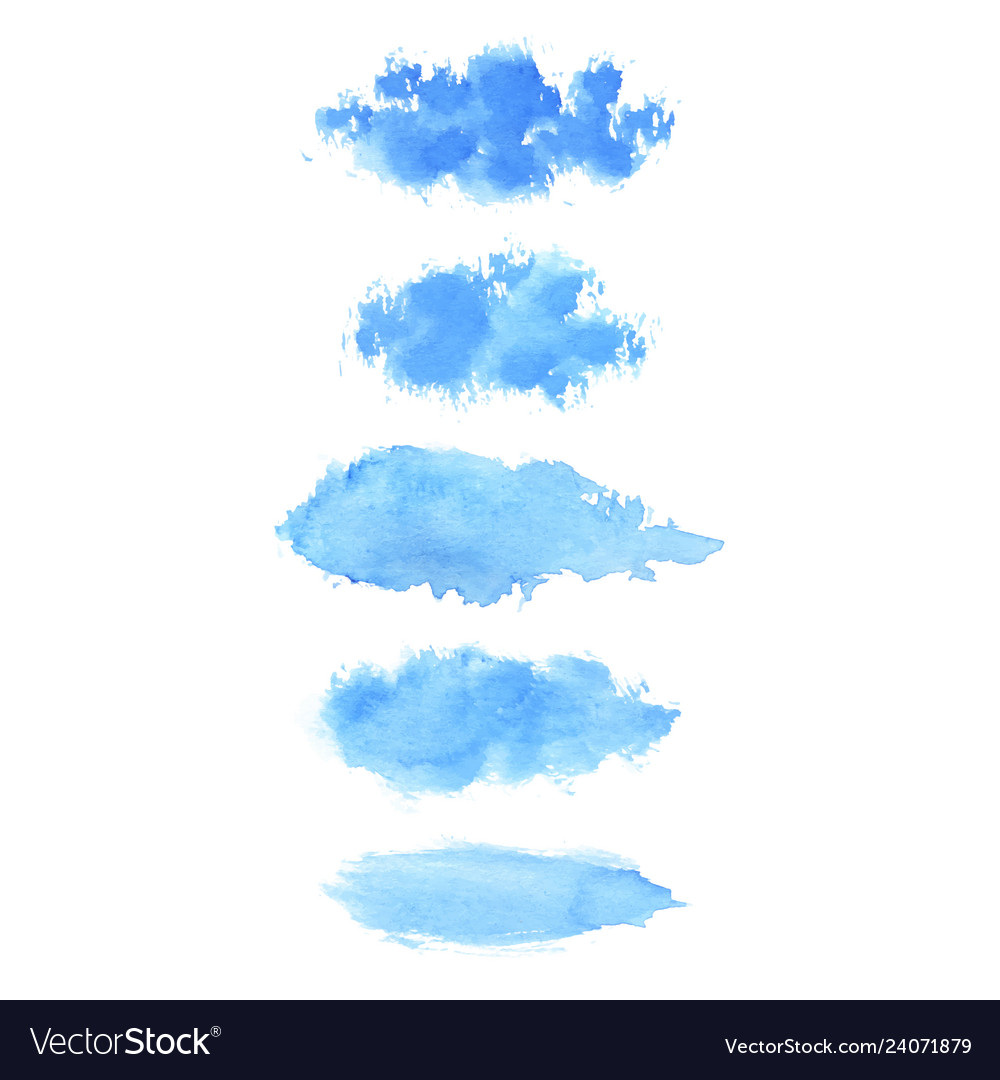 Set hand painted blue watercolor brush stroke