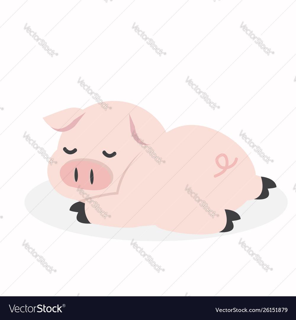 Sleeping pig cartoon