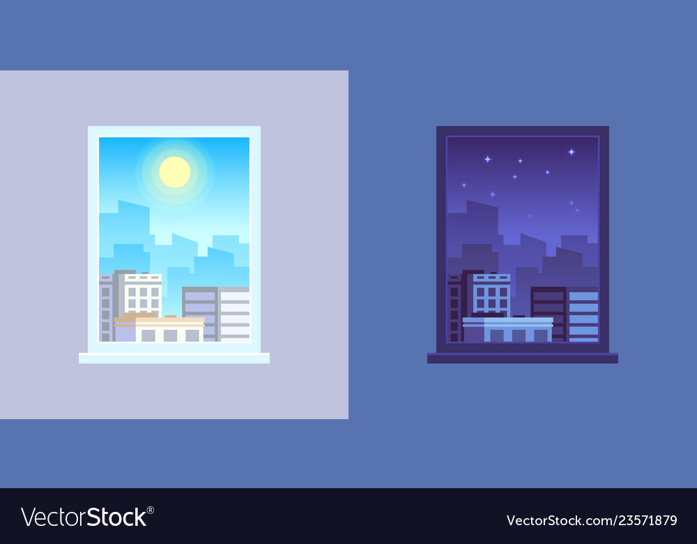 Window view day and night cartoon concept