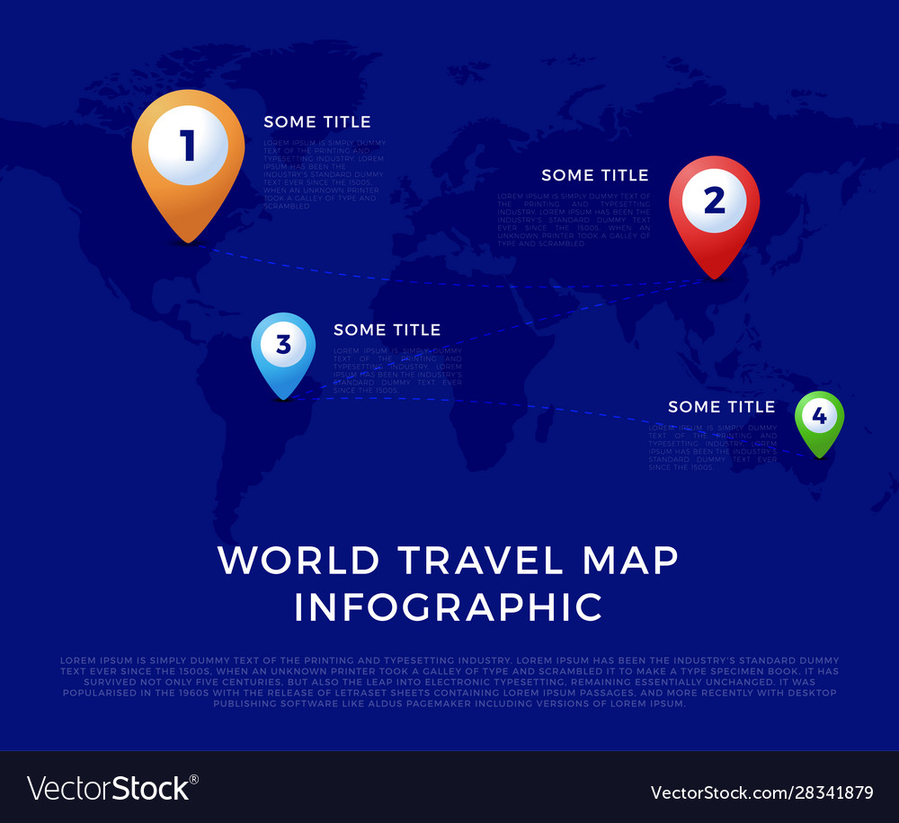 World travel map infographic template color icons