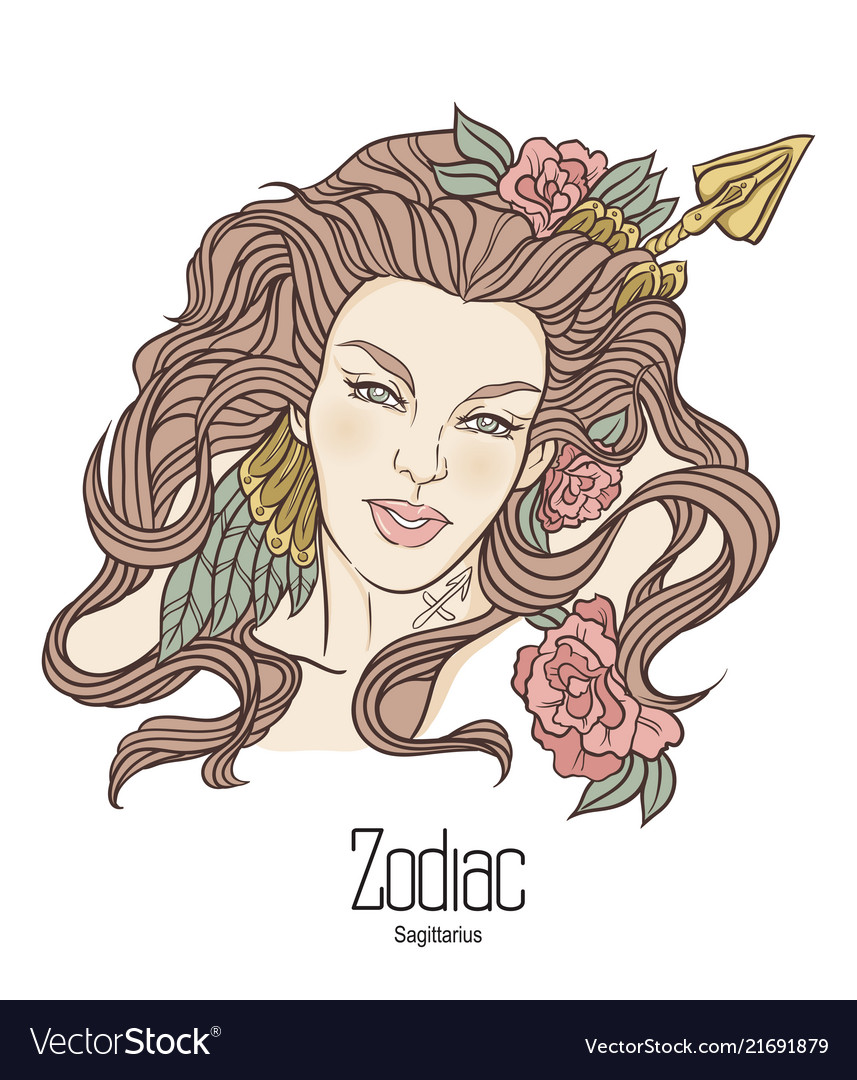 Zodiac Of Sagittarius As Girl With Royalty Free Vector Image