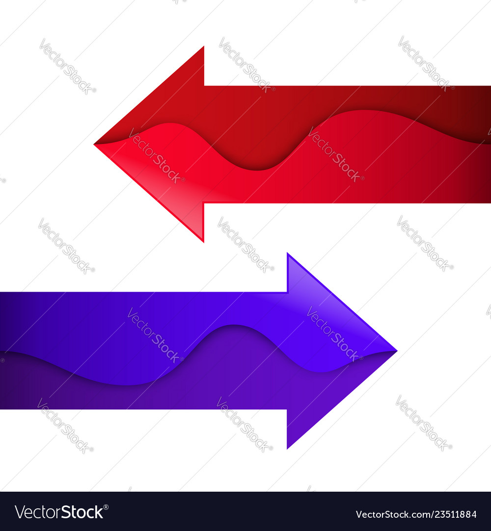 Arrows with wave red and purple