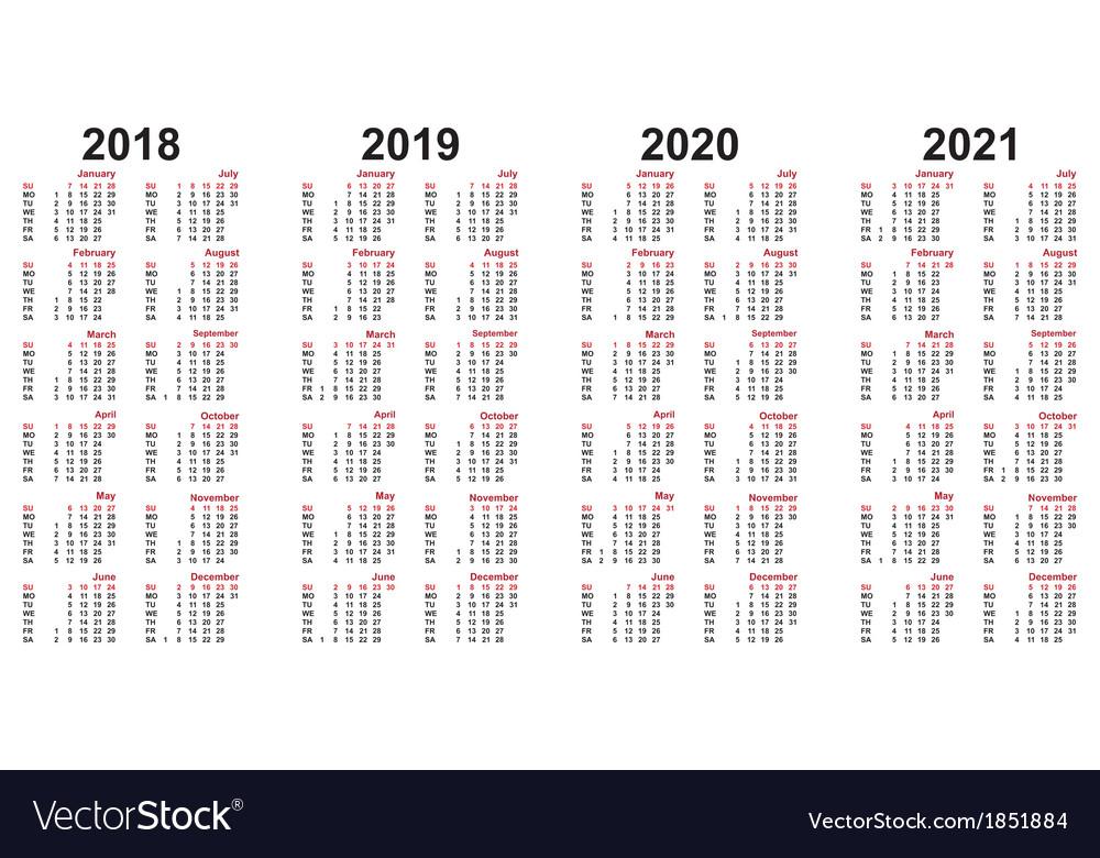 Calendar 2018 - 2021
