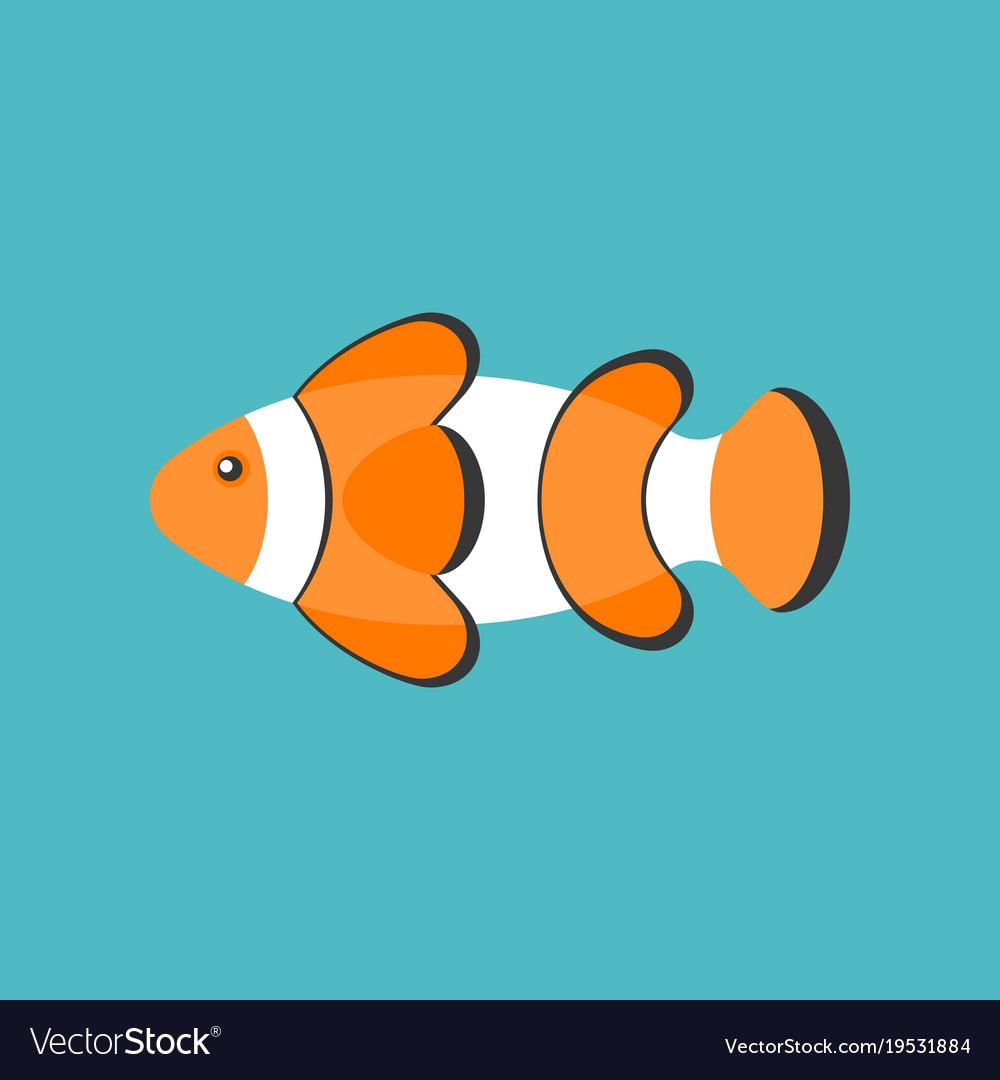 Clown fish cartoon flat design icon