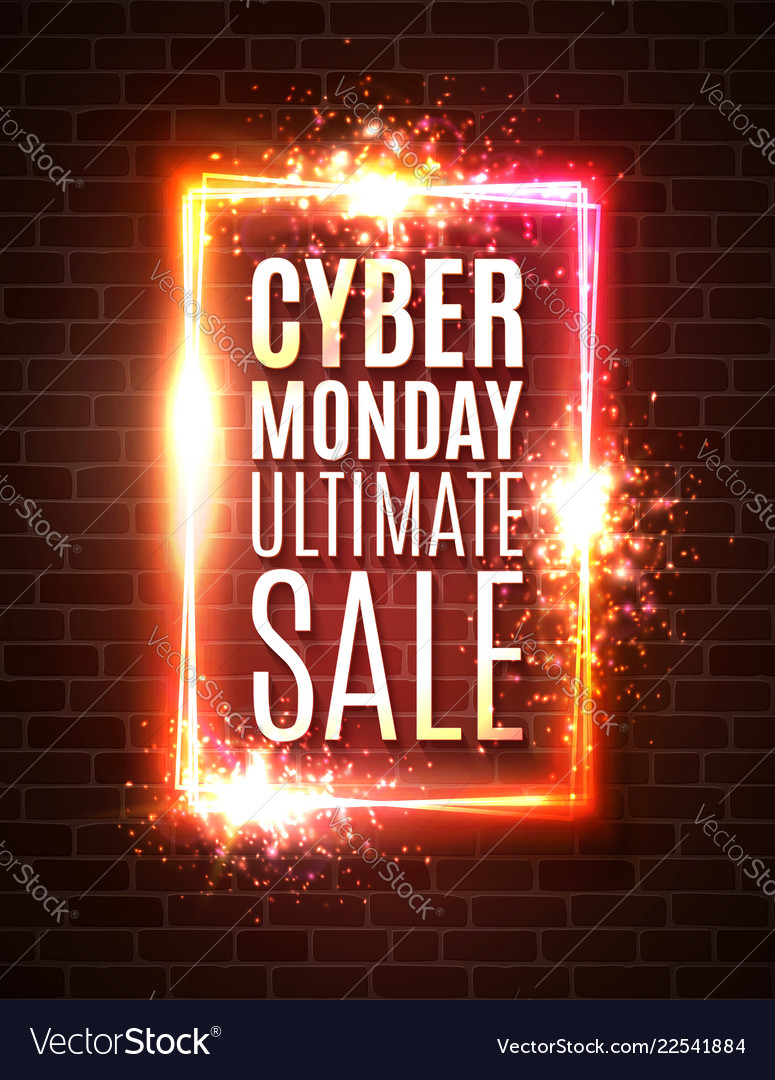 Cyber monday banner on brick wall ultimate sale