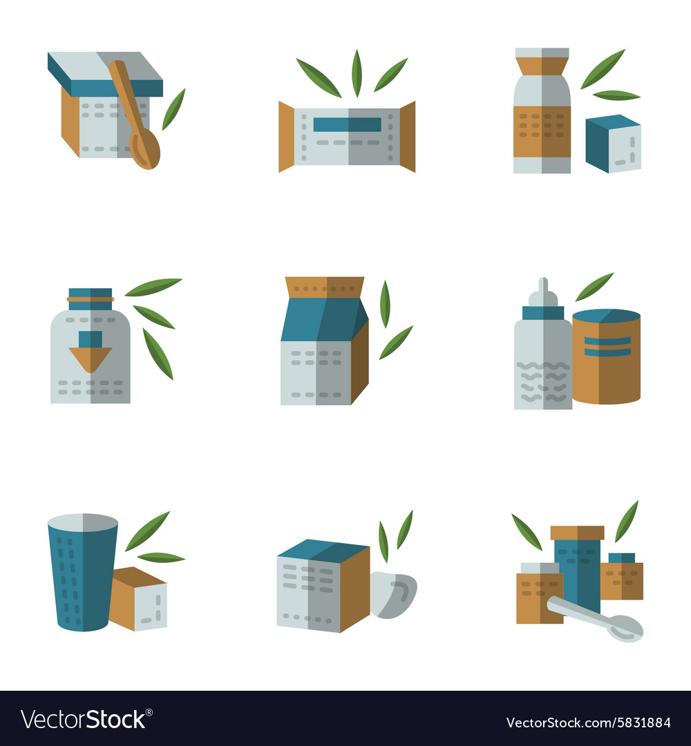 Flat style icons for baby food