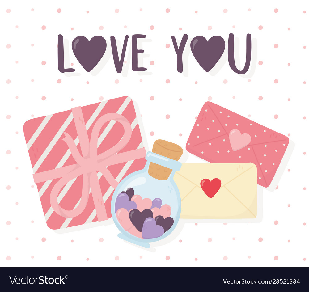 Happy Valentines Day Gift Box Messages And Hearts