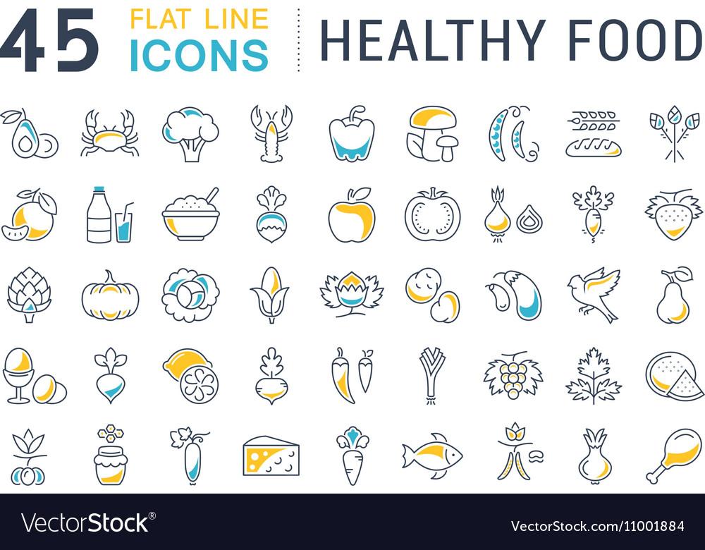 Set Flat Line Icons Healthy Food