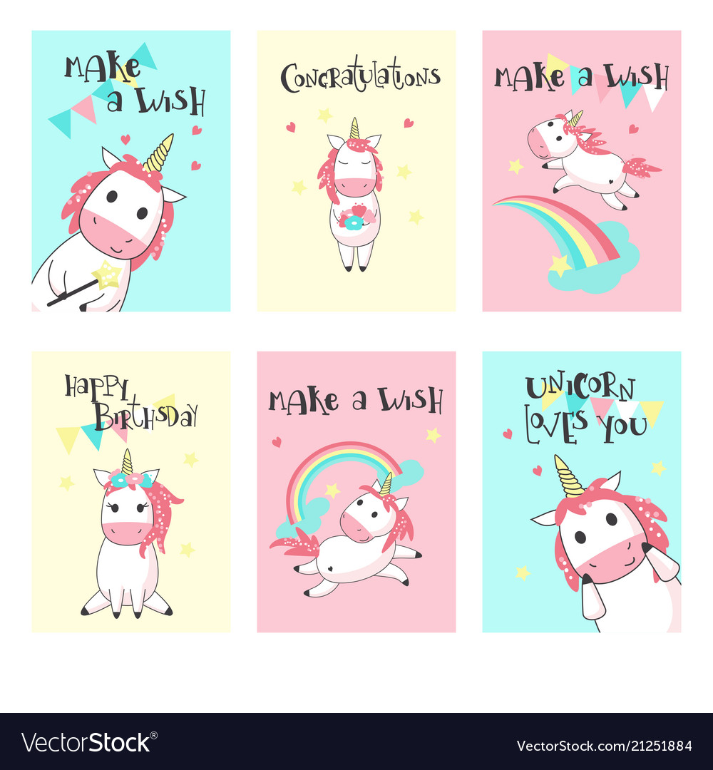 Set of unicorn birthday greeting cards royalty free vector set of unicorn birthday greeting cards vector image m4hsunfo