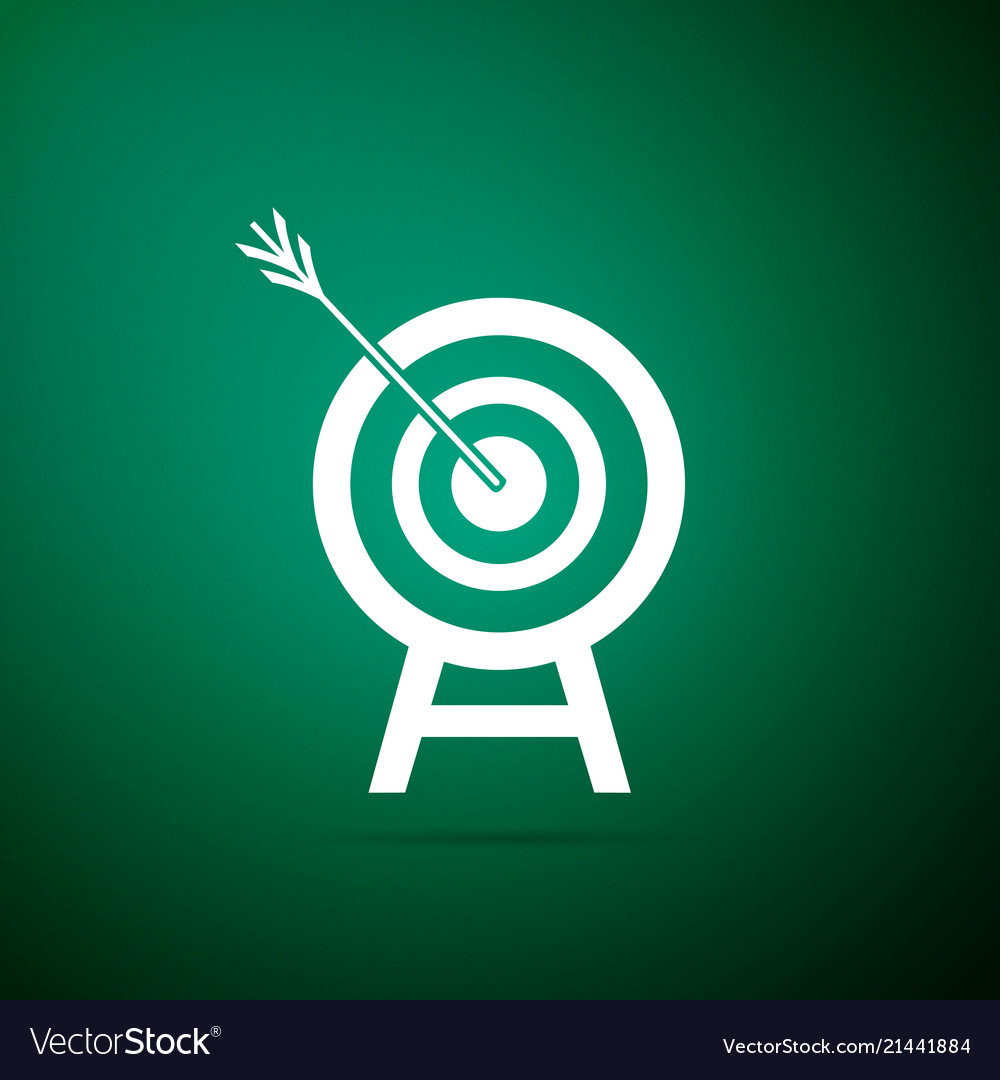 Target with arrow isolated on green background