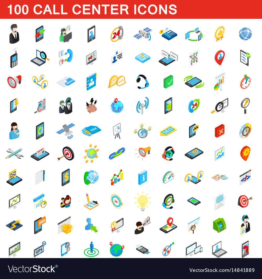 100 call center icons set isometric 3d style