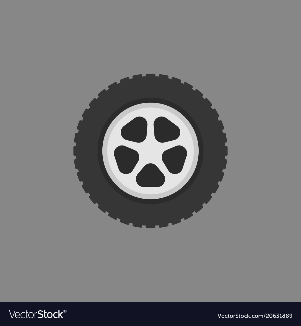 Automobile wheel flat icon on gray vector image