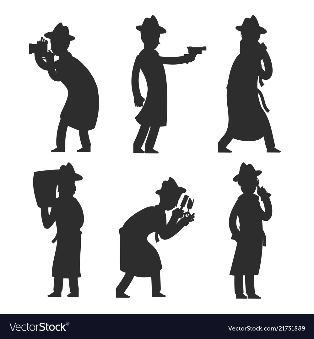 Detective silhouettes isolated on white policeman