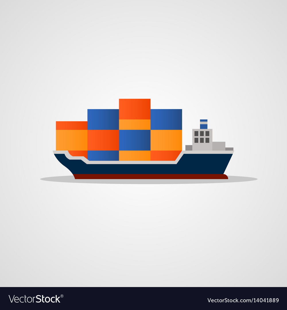 Flat colored loaded container ship