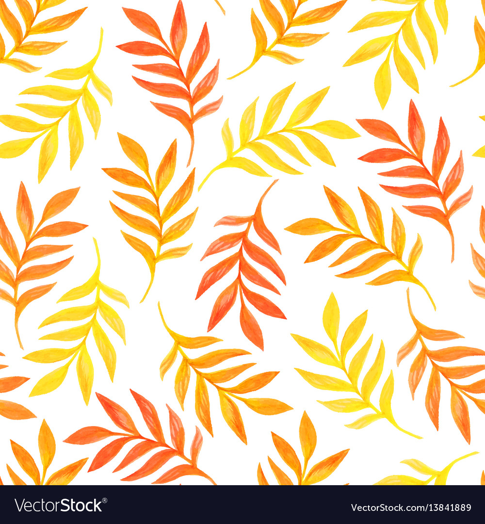 Floral seamless pattern with orange leaves on