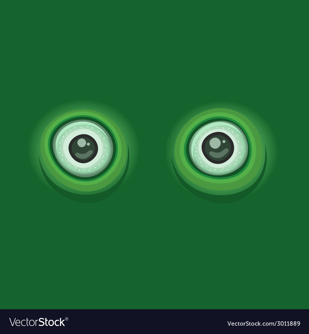 Green Background with Cartoon Eyes