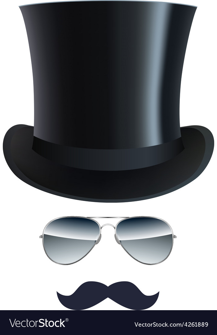 Hat Glasses and Mustache isolated on white