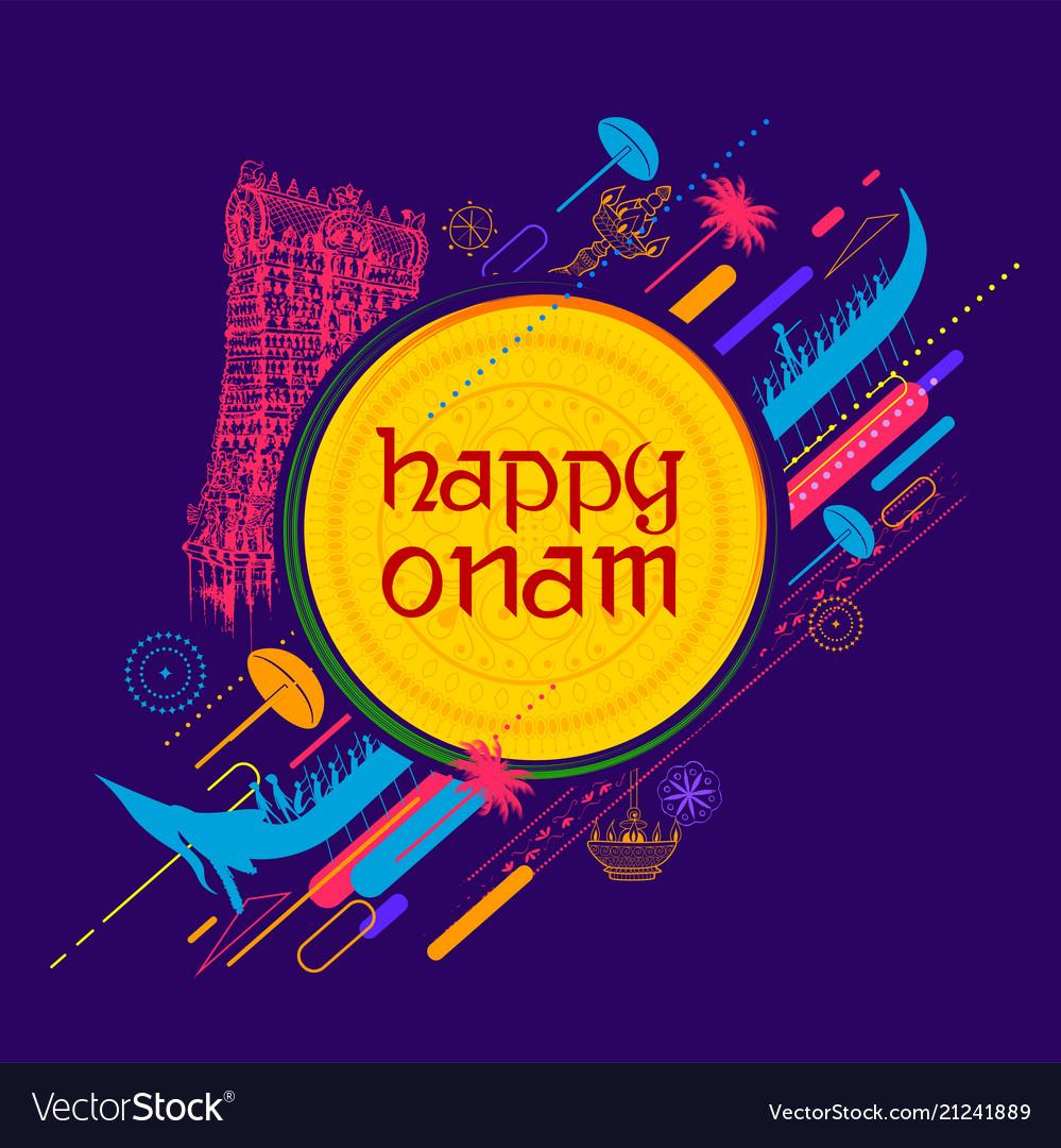 Kathakali dancer on background for happy onam