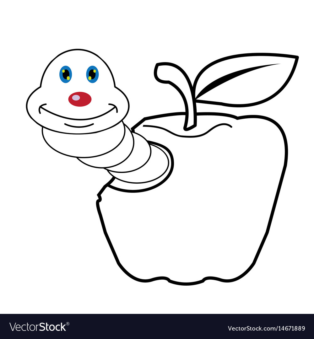 Larva Worm And Apple Cartoon Coloring Page For Tod