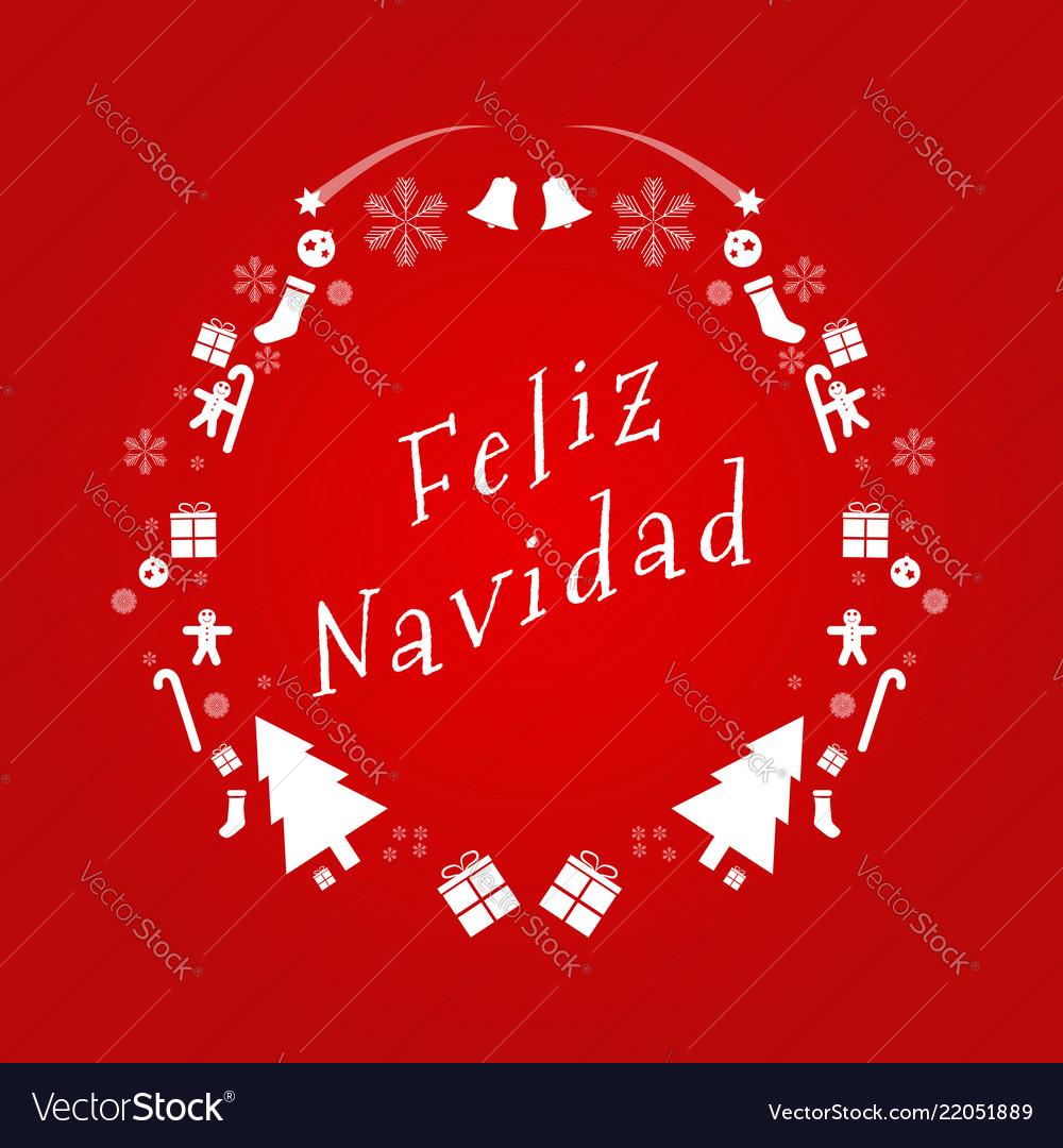 Merry christmas text in spanish design card Vector Image